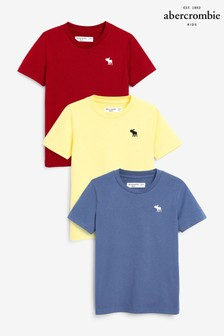 Abercrombie & Fitch Red/Blue/Yellow T-Shirts 3 Pack