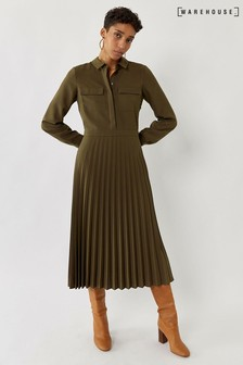 Warehouse Green Pleated Midi Shirt Dress