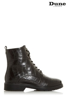 Dune London Parkland Black Croc Print Leather Boots