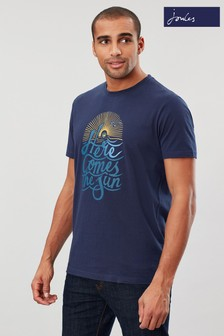 Joules Blue Flynn Graphic Print Crew Neck T-Shirt