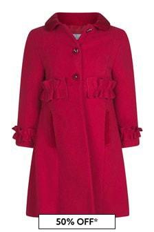 Girls Red Frills Embellished Coat