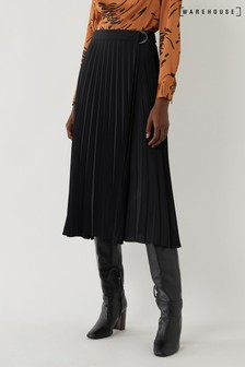 Warehouse Black Pleated Wrap Skirt