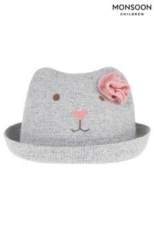 Monsoon Grey Baby Brooke Bear Grey Bowler Hat