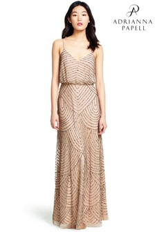 Adrianna Papell Nude Long Blouson Dress
