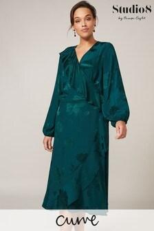 Studio 8 Jade Green Natalya Jacquard Wrap Dress