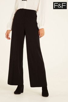 F&F Black Button Wide Leg Trousers