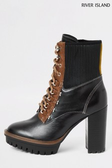 River Island Black Tino High Heel Lace Up Hiker Boots