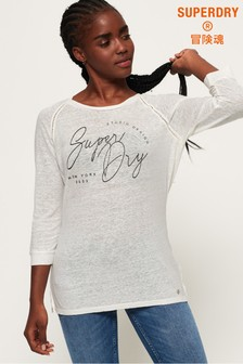 Superdry Penton Linen Graphic Long Sleeve Top