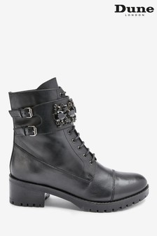 Dune London Pasadena Black Leather Embellished Biker Boots