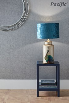 Avas Peacock Tall Silver Ceramic Table Lamp by Pacific Lifestyle