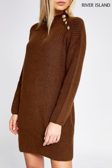 River Island Toffee Caine Button Shoulder Dress