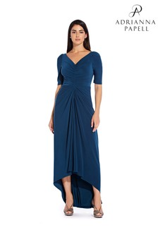 Adrianna Papell Blue Puff 3/4 Sleeve Hi Low Gown