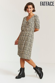 FatFace Natural Iona Ikat Texture Dress