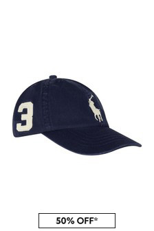 Boys Navy Cotton Big Pony Cap