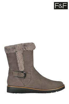 F&F Grey Faux Fur Wedge Boots