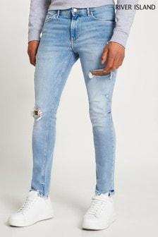River Island Blue Light Skinny Rip Jaguar Jeans