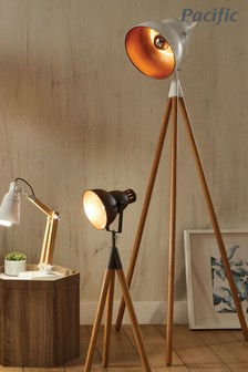 Larkin White Metal Natural Wood Tripod Floor Light by Pacific Lifestyle