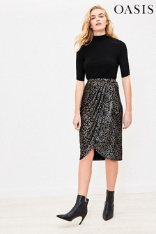 Oasis Black Animal Glitter Dress