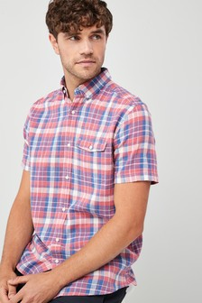 Short Sleeve Linen Blend Check Shirt