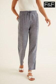 F&F Blue Straight Leg Linen Trousers