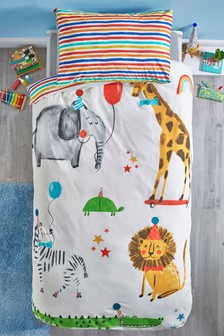 Party Animals Pom Pom Duvet Cover and Pillowcase Set