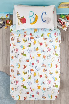 Alphabet Duvet Cover and Pillowcase Set