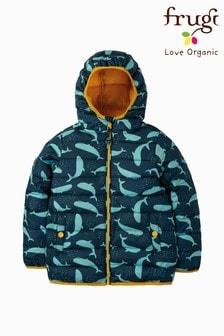 Frugi Showerproof Padded Packaway Jacket In Whale Print