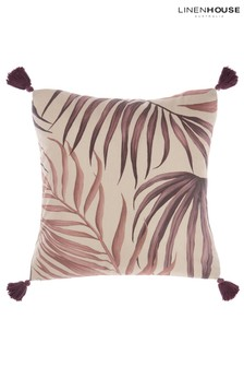 Linen House White Taira Tassled Leaf Cushion