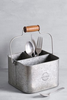 Galvanized Metal Cutlery Caddy
