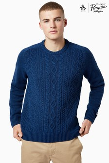 Original Penguin® Blue Donegal Fisherman Cable Knit Jumper