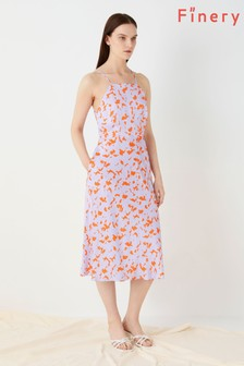 Finery London Orange Kamila Printed Satin Anouk Dress