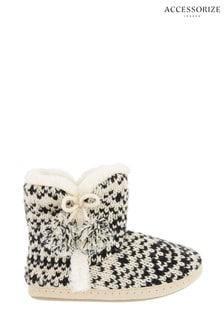 Accessorize Black Fairisle Pattern Knitted Boots