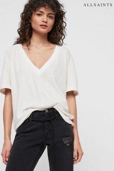 AllSaints Chalk Saro Stripe T-Shirt