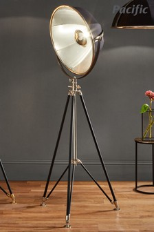 Elstree Silver Black And Silver Metal Tripod Floor Lamp by Pacific Lifestyle