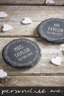 Set of 2 Personalised Mr and Mrs Round Slate Coasters by Loveabode