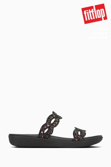FitFlop™ Black Kerstin Glitter Interlace Slide Sandals