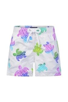 Vilebrequin Boys White Turtles Swim Shorts
