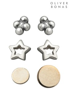 Oliver Bonas Stars & Planets Silver Stud Earrings 6 Pack