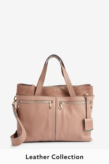 Leather Large Multi-Compartment Tote Bag
