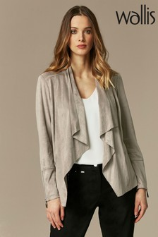 Wallis Taupe Suedette Zip Cuff Waterfall Jacket