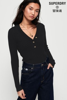 Superdry Lola Buttoned Vee Knit