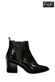 F&F Black Crinkle Patent Gusset Boots