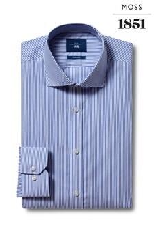 Moss 1851 Tailored Fit Blue Single Stripe Non-Iron Shirt