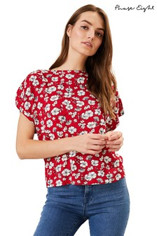 Phase Eight Red Bessie Floral Top
