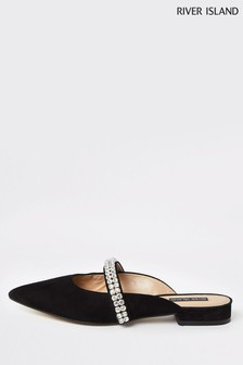 River Island Black Bling Detail Shoe