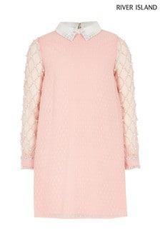River Island Pink Pearl Collar Dress