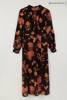 Warehouse Orange Wallflower High Midi Dress