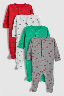 Transport Sleepsuits Four Pack (0mths-2yrs)