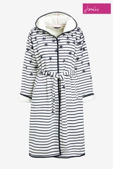 Joules Cream Ida Jersey Fleece Lined Dressing Gown
