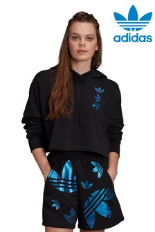 adidas Originals Black/Blue Repeat Logo Cropped Hoody